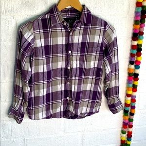 Blue Crown Plaid Flannel Boys Button Up sz M